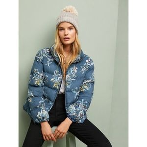 Anthropologie Floral Puffer Coat XS by Ett:twa